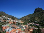 The town of Vallehermoso with the Roque Cano